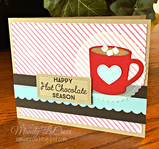 Laina Lamb Design Hug in a Mug stamp set and Hot Cocoa Cups Die-namics - Mandy LaCroix