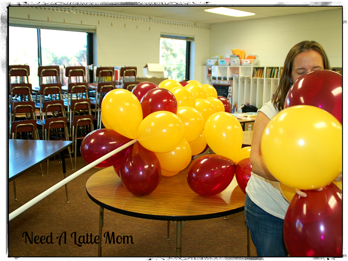 your frame is set and it is time to twist the balloons onto the pvc pipe twist the balloons around the pipe locking them