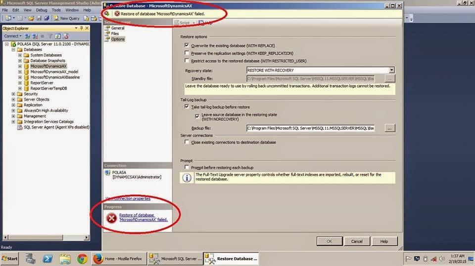 Sql database Restore error