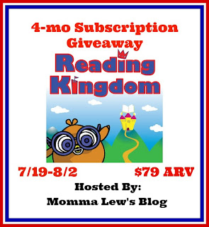 Enter to win a 4 month subscription to Reading Kingdom, ends 8/2.
