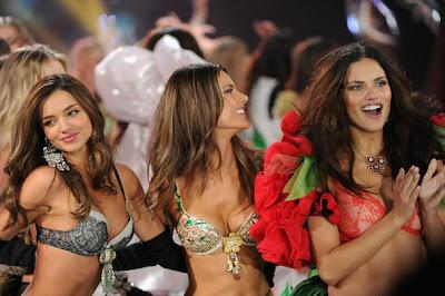 (L-R) Victoria's Secret Angels Miranda Kerr, Alessandra Ambrosio, and Adriana Lima walk the runway At  Victoria's Secret Fashion Show 2012