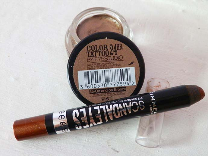 May 2013 Favorite Eye Shadows Maybelline 24 hour Color Tattoo in On and On Bronze and Rimmel London Scandaleyes Eye shadow stick/crayon in Bad Girl Bronze