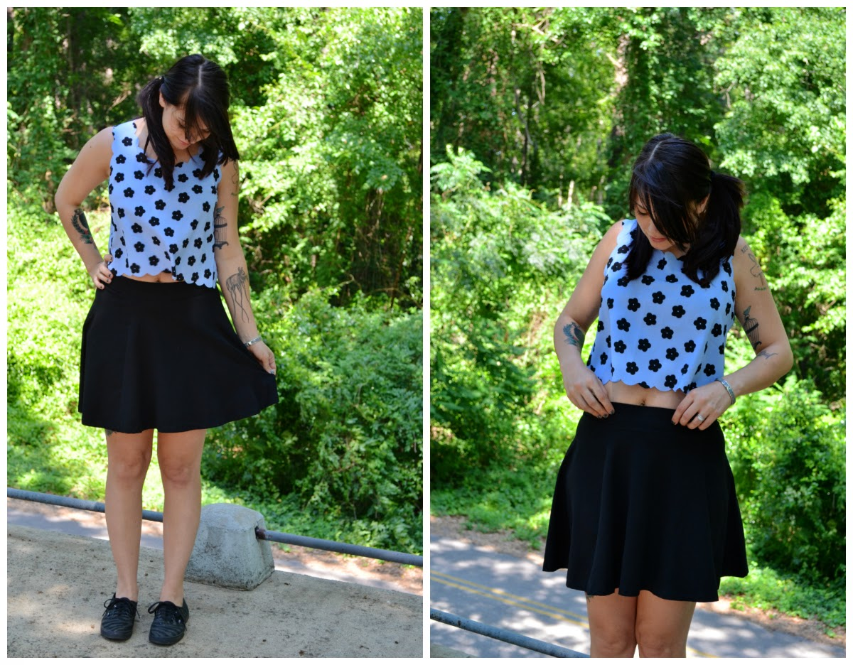 blue daisy top, daisy crop top, blue crop top, black circle skirt, h&m circle skirt, h&m black skirt, TJ Maxx, TJ Maxx top, post pregnancy outfit, zebra vans, zebra print vans