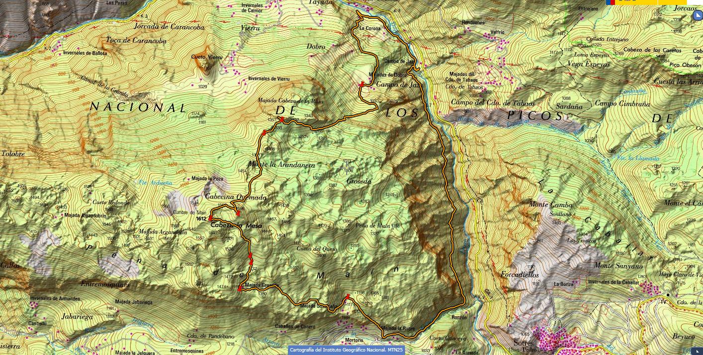 Mapa topográfico ruta Peña Maín