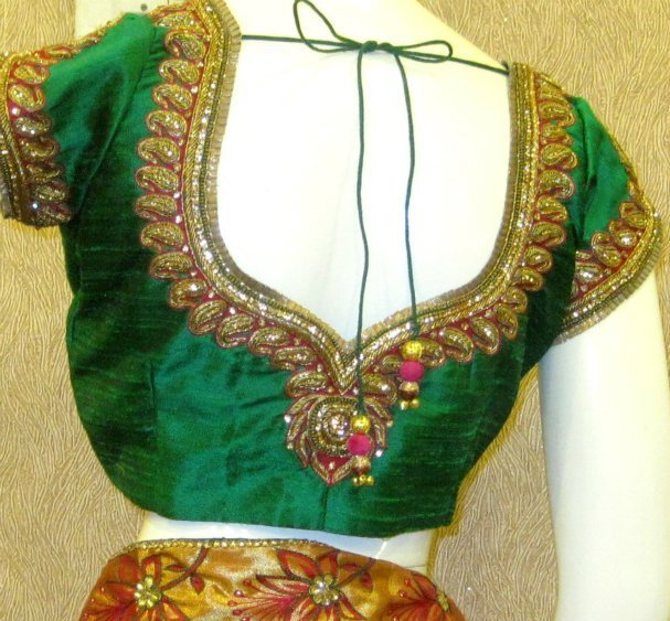 Zardosi Work Designs On Blouses 94