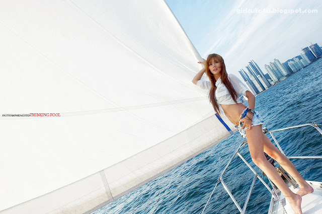 5 Kim Ha Yul on a Sailboat-very cute asian girl-girlcute4u.blogspot.com