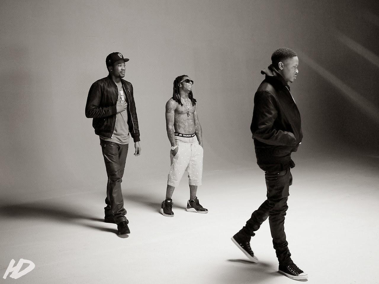 fotos de lil wayne yg y meek mill grabando el video del remix de my nigga