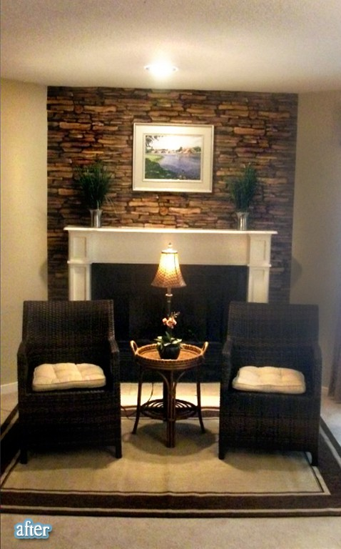 stacked rock fireplace on pinterest