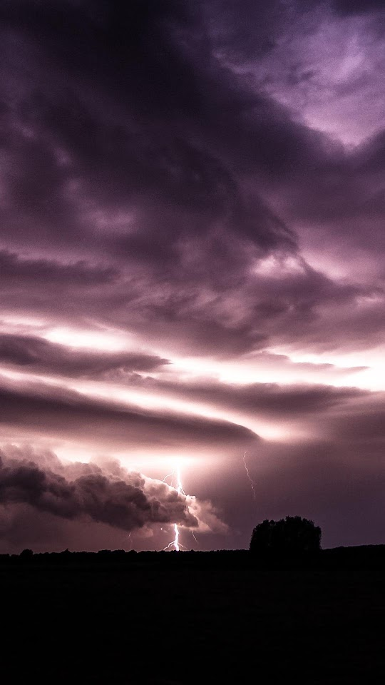 Purple Clouds Lightning Over Field  Galaxy Note HD Wallpaper