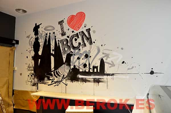 Graffitis I love Barcelona