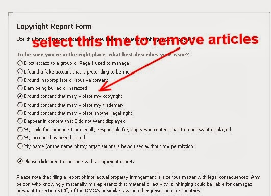 facebook copyright report form options
