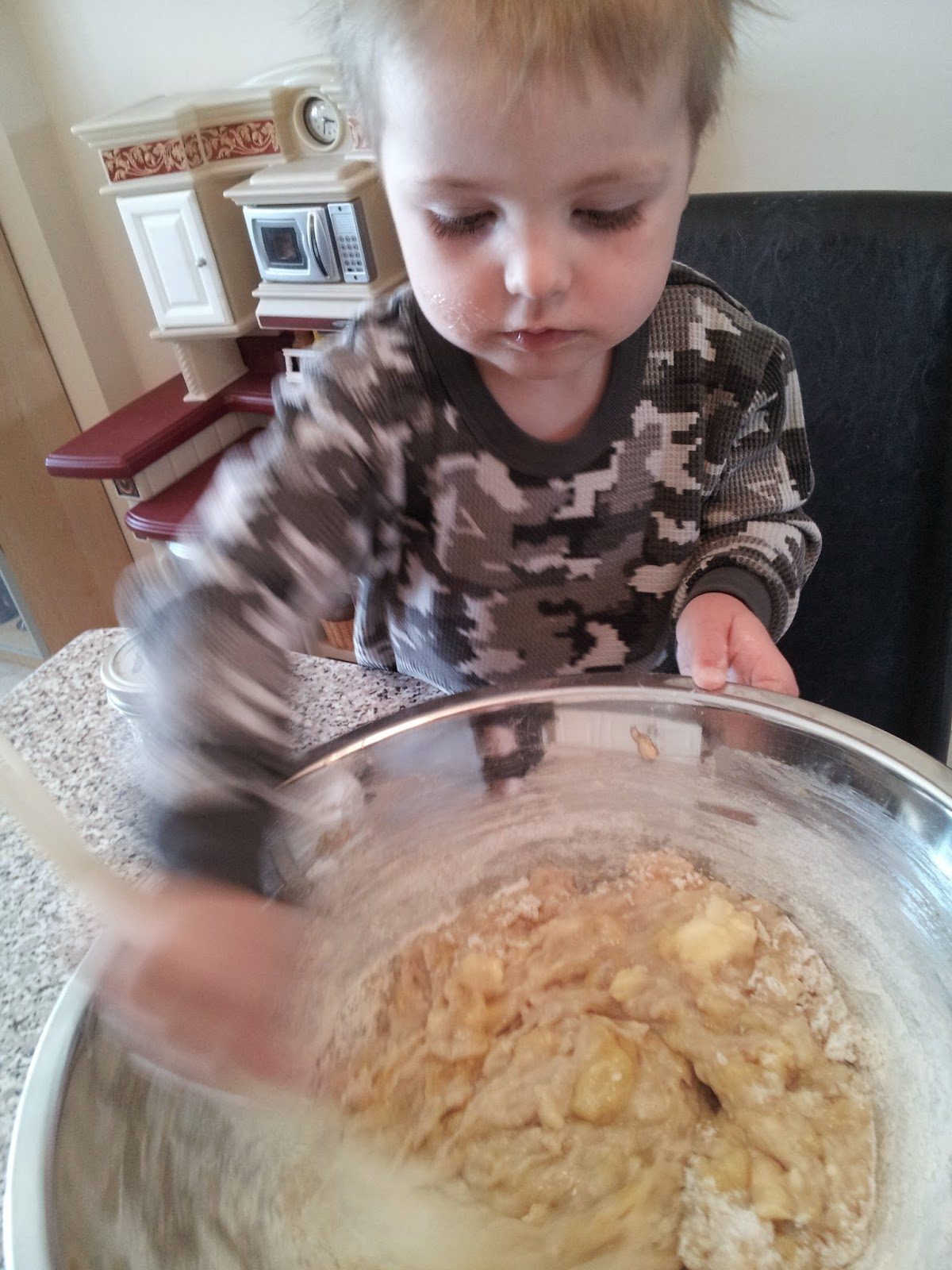 Mixing banana bread batter, kids, baking