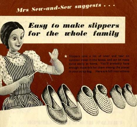 Mrs Sew-and-Sew suggests...Easy to make Slippers for the Whole Family free jps