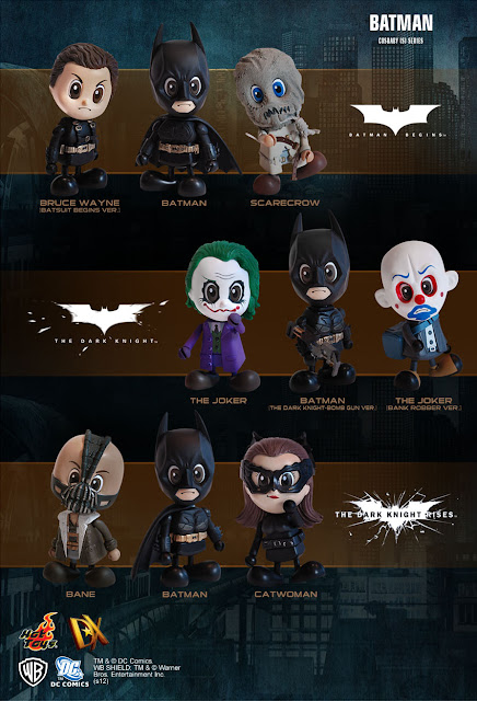 The Batman Movie Trilogy Cosbaby Series by Hot Toys - Batman Begins (Batman, &#8220;Batsuit Begins Version&#8221; Bruce Wayne &amp; Scarecrow), The Dark Knight (The Joker, &#8220;The Dark Knight Bomb Gun Version&#8221; Batman &amp; &#8220;Bank Robber Version&#8221; The Joker) &amp; The Dark Knight Rises (Bane, Batman &amp; Catwoman)