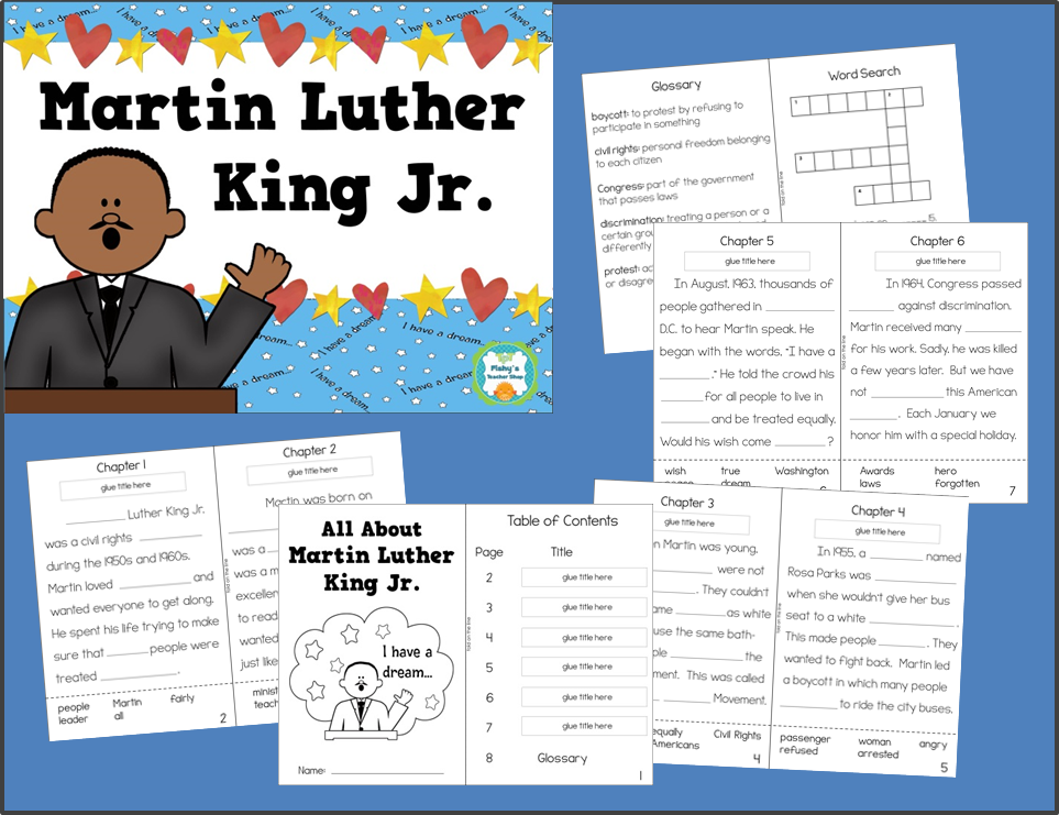 http://www.teacherspayteachers.com/Product/Martin-Luther-King-Jr-Informational-TextReading-Comprehension-Activity-Book-1052866