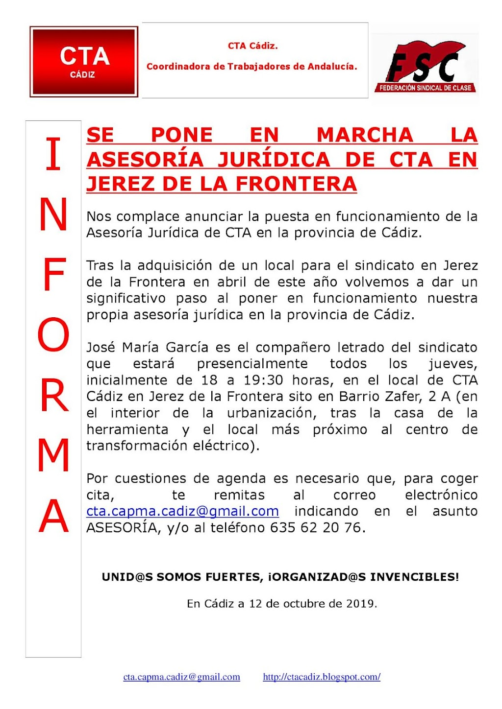SE PONE EN MARCHA LA ASESORÍA JURÍDICA DE CTA EN JEREZ DE LA FRONTERA