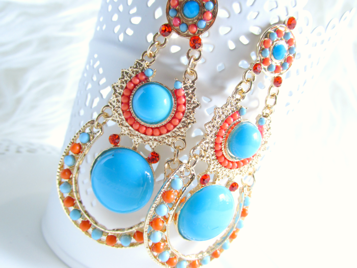 Details MyVintageSpirit - Gold, Orange & Blue Boho Dangle Earrings - $13.00 USD