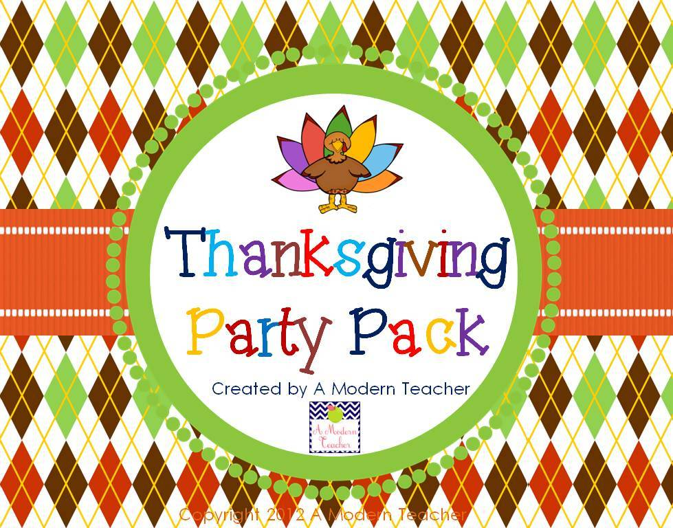 Thanksgiving Party Pack from www.amodernteacher.com