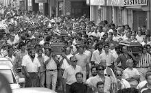 Mineros en un entierro en Mieres -Asturias