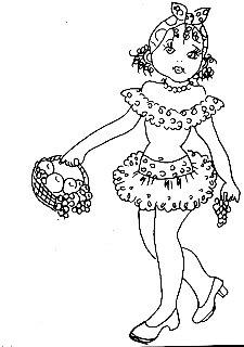 desenho de baianinha com cesta de frutas para pintar