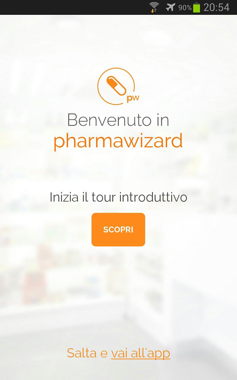 schermata di benvenuto nell'app Pharmawizard