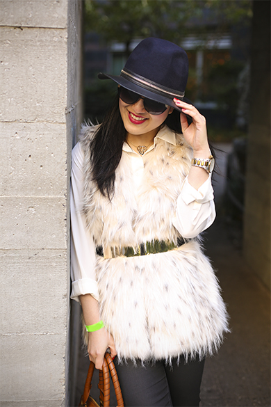 Zara wool hat with Zara faux fur vest