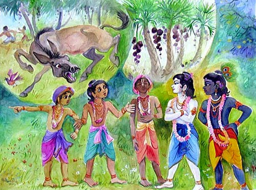 Cowherd boys telling Krishna and Balrama about Talvana