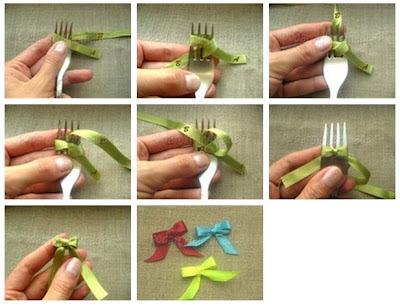 Способ завязывания бантика из ленты с помощью вилки