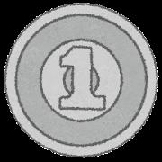 一円玉のイラスト(お金・硬貨)