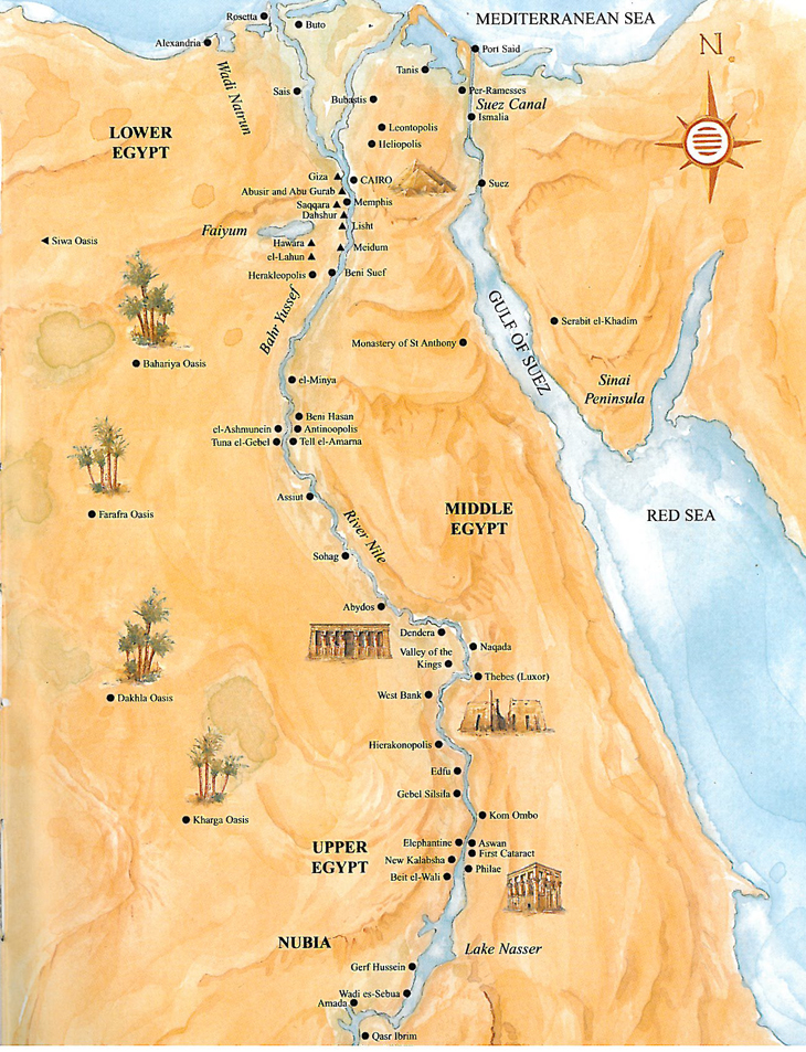 Ancient Egypt Pyramids Map - Map of ancient egypt historical sites