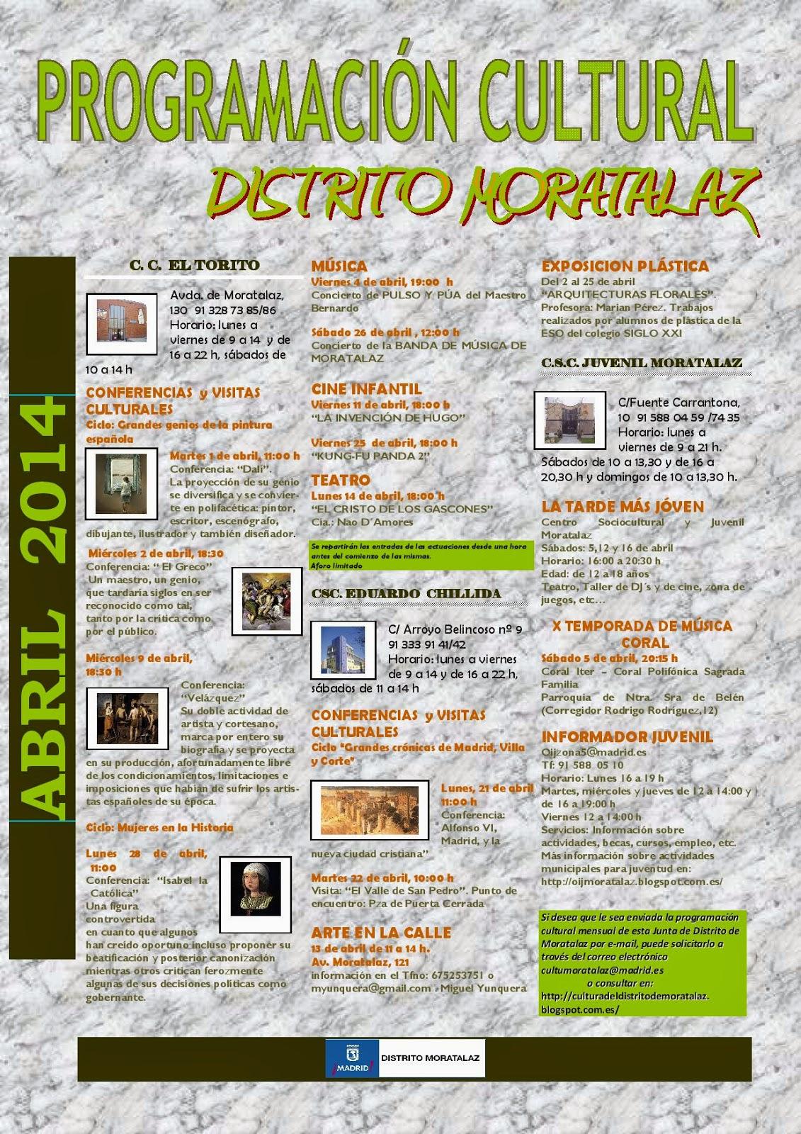 Programación cultural del Distrito de Moratalaz. Abril de 2014.