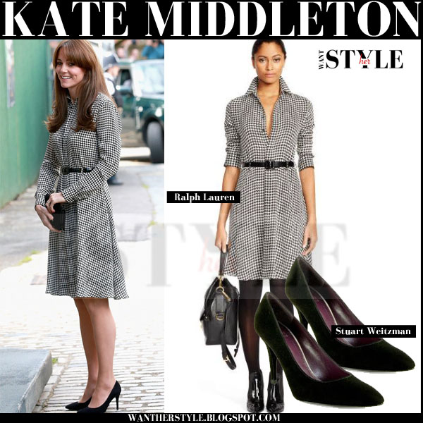 Kate Middleton in check print belted ralph lauren shirt dress and black stuart weitzman suede pumps what she wore september 2015
