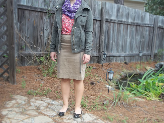 wear now wear later khaki pencil skirt and coral floral top fall transition idea military jacket