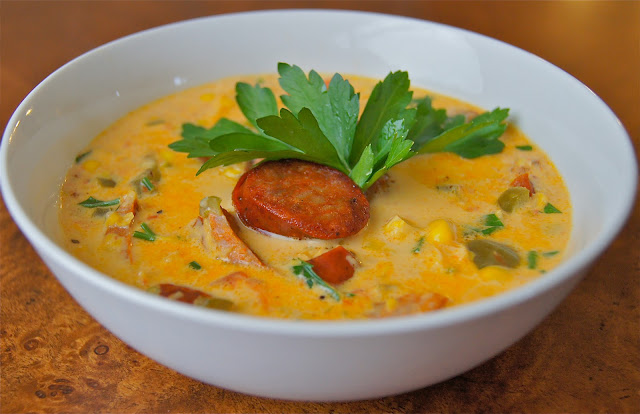 Healthy and Gourmet: Low Fat Spicy Sausage Corn Chowder