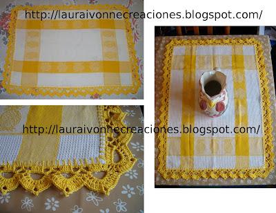 Laura Ivonne Creaciones: Puntilla en crochet para repasador o mantelito