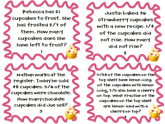 Multiplying and Dividing Fractions Word Problems (Cupcake Shoppe ...