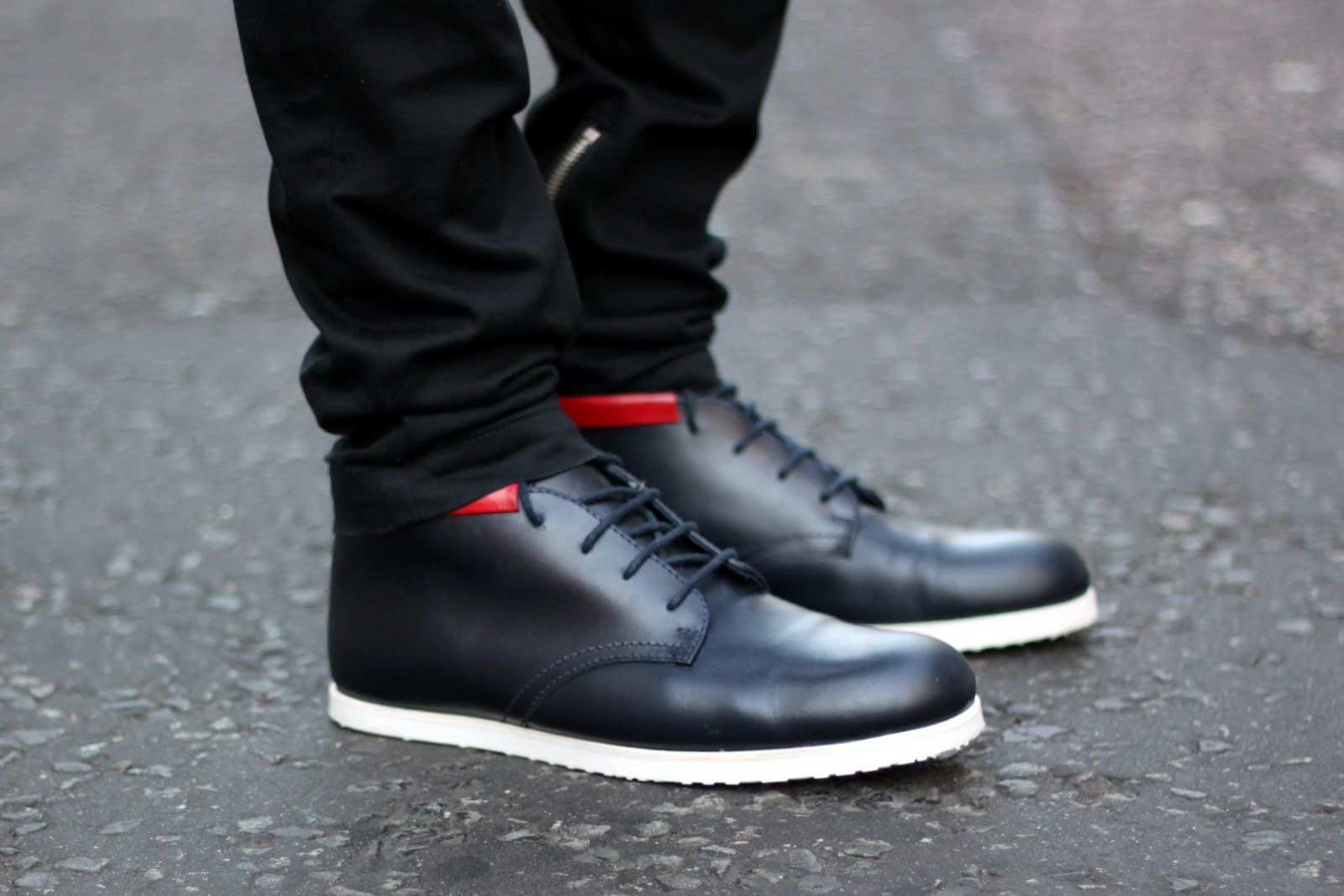 The Facehunter, SIX London and farfetch collaboration navy shoes with red stripe