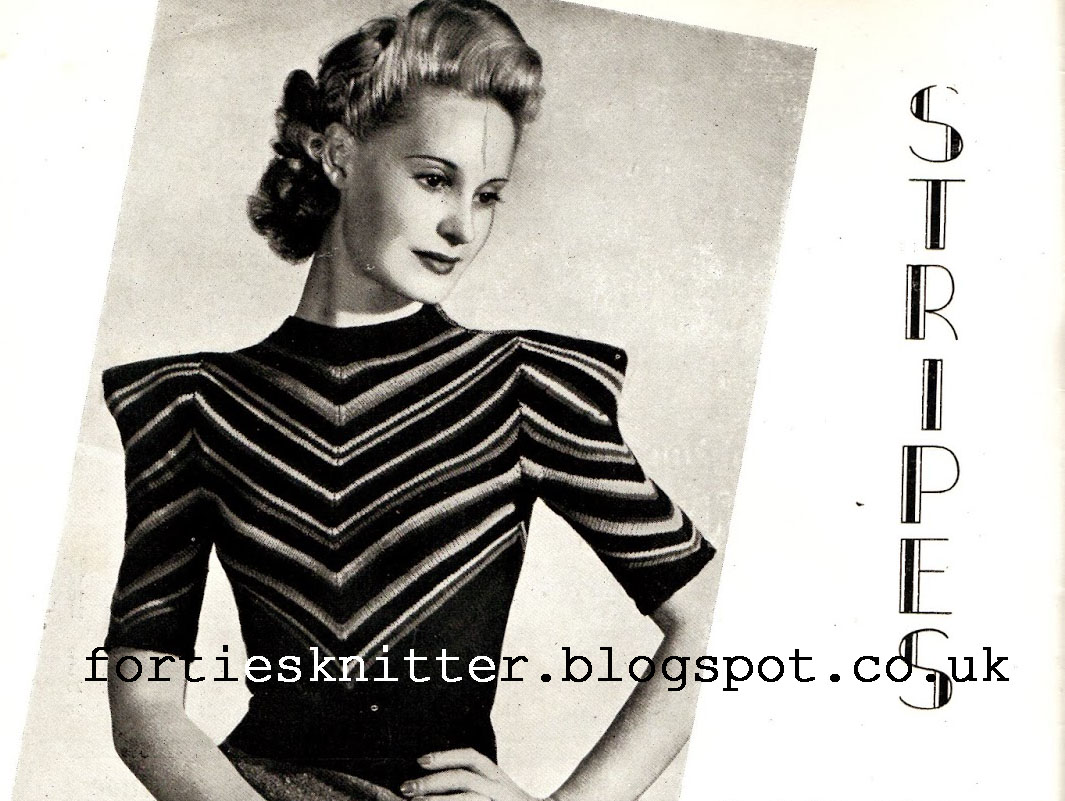 Free knitting pattern Stripes 1940's