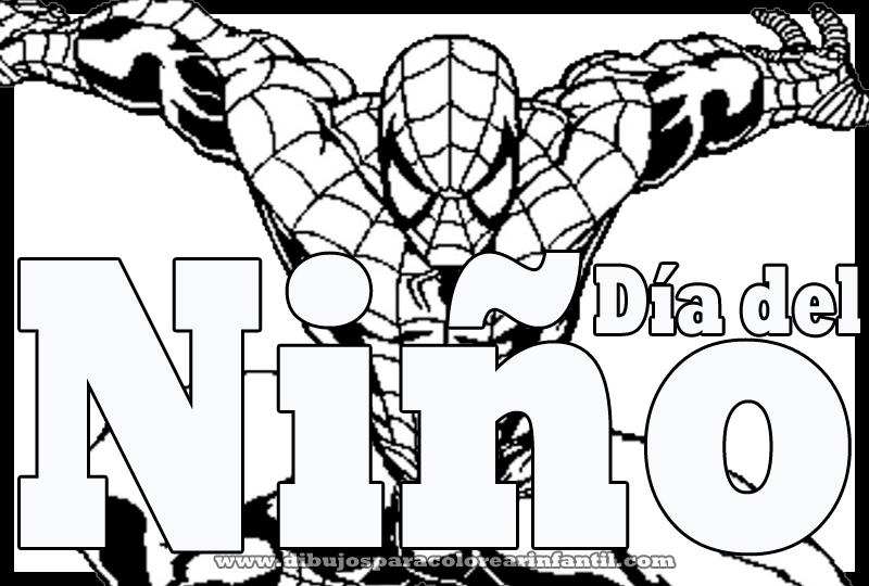Dibujo de Spiderman para el dia del niño colorear ~ Dibujos para ...
