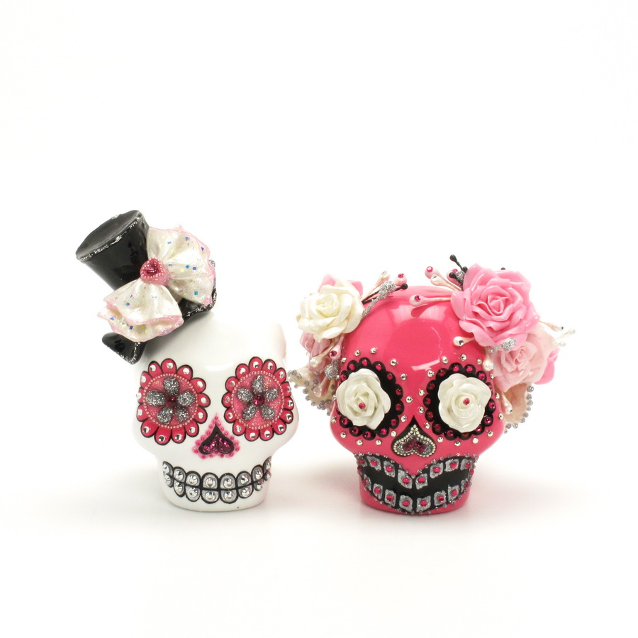 day of the dead wedding cake topper mexican skull 00018