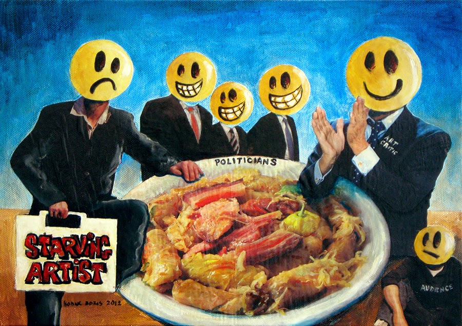 Starving Artist - Show Your Hope Project, photo collage, acrylic and oil on canvas stretched over wooden plate, 25x35 cm, 2012.