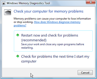 Cara Mengatasi your Computer is low on Memory dengan windows memory diagnostic tools