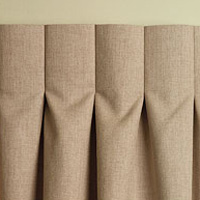 drapery panels made with an inverted box pleat are double the fullness of the window so they always look full and luxurious when you close these drapes