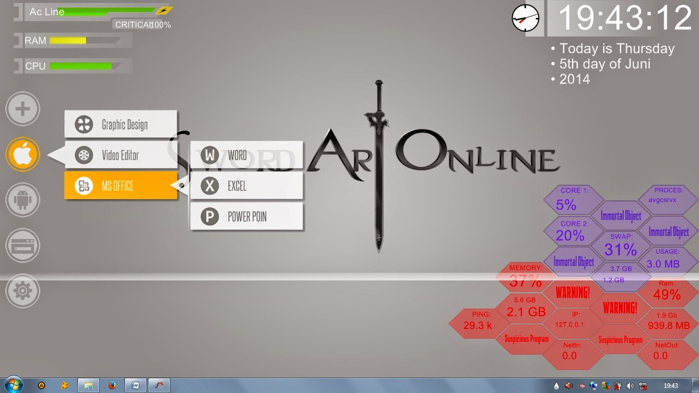 Download skin Rainmeter  SAO v1.0