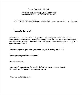 Convite Patrono Paran  Padrinho  MODELO