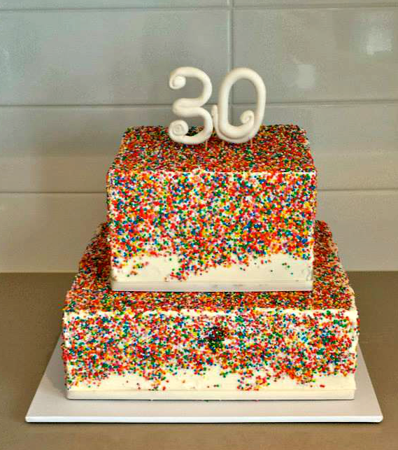 Tier Sprinkle 30th Birthday Cake