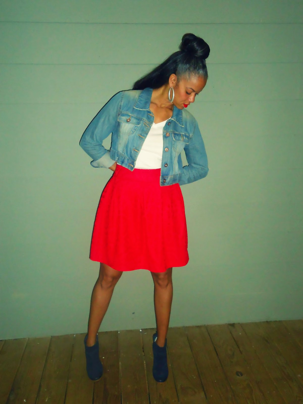 Red Skirt, Denim Jacket, Vintage Booties
