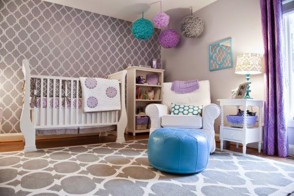 Habitaciones de bebé en gris y morado  Dormitorios colores y estilos