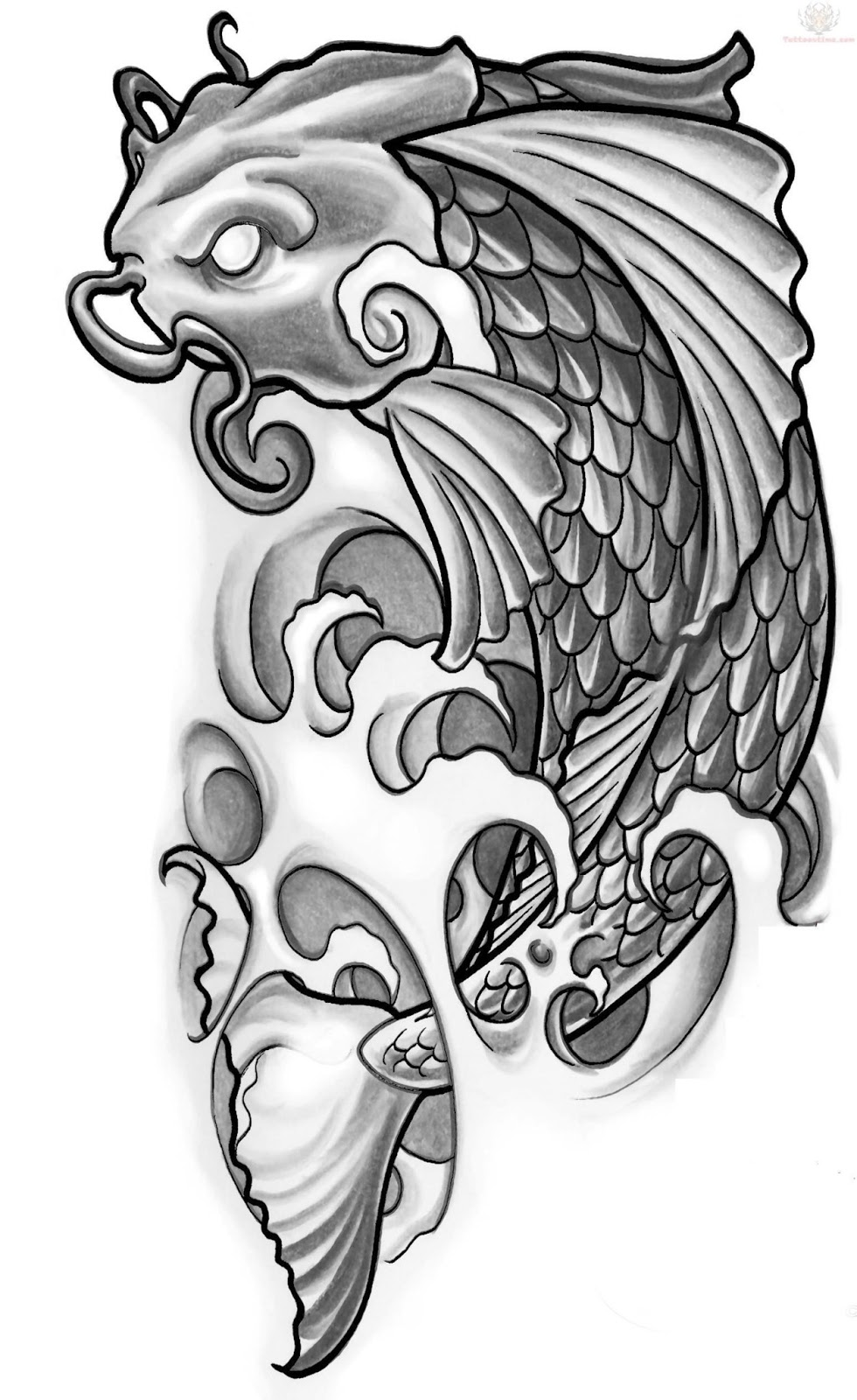 Japanese tattoos koi tattoo design for All black koi fish
