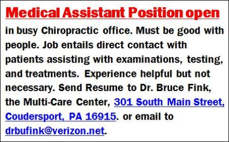 Medical Assistant Wanted, Coudersport